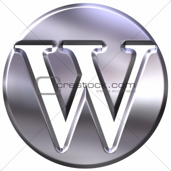 3D Silver Letter W