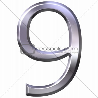 3D Silver Number 9
