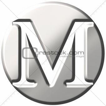 3D Steel Letter M