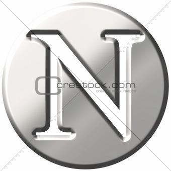 3D Steel Letter N