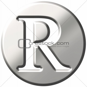 3D Steel Letter R