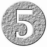 3D Stone Framed Number 5