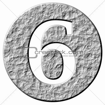 3D Stone Framed Number 6