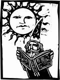 Wizard beneath a sun face