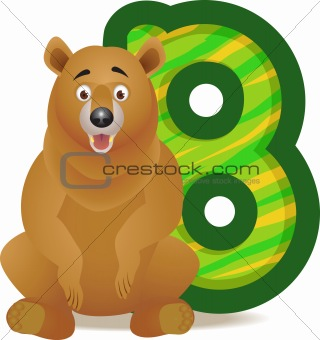 animal alphabet B with Bear cartoon