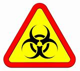 Biohazard warning sign isolated on white