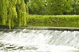 River flowing over a small weir