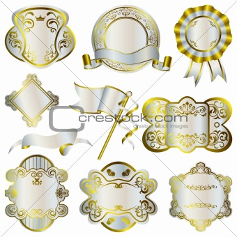 Gold and silver luxury frames set