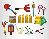 cartoon Gardening icon set