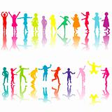 Collection of colored children silhouettes