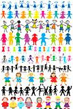 Set of different and colored children silhouettes