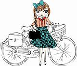 bike illustration girl