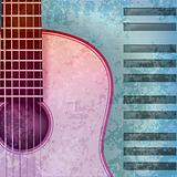 abstract music grunge background acoustic guitar and piano