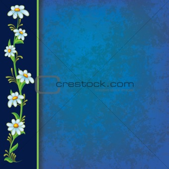 abstract blue grunge background with blue flowers