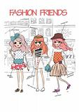 summer shopping street girls