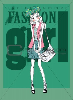 fashion background illustration with bag sketch girl