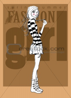 fashion background illustration sketch girl