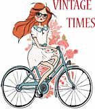 fashion girl with flower and bicycle