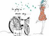 summer bicycle vintage vector girl