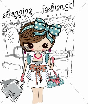 illustration shopping with ribbon woman