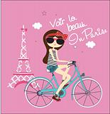 fashion bicycle girls illustration