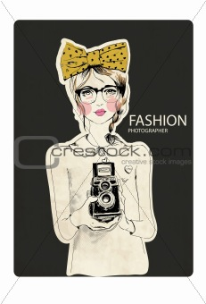 fashion photographer girl with ribbon