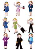 cartoon flight attendant/pilot icon