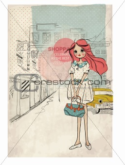 shopping girl with taxi city background