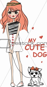 cute illustration girl with dog