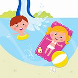 Summer and vacation: two children swimming in the pool
