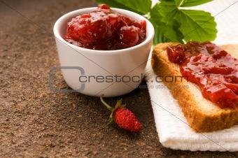 Wild strawberry jam with toast