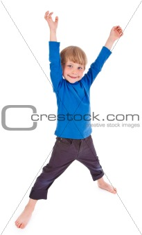 small boy making funny pose