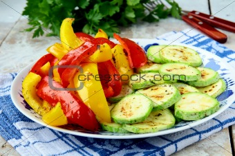 grilled vegetables - zucchini, pepper paprika on a plate