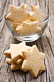 Sugar coated shortbread cookies in star shapes