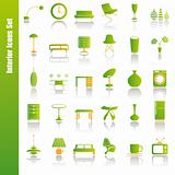Green interior icons set