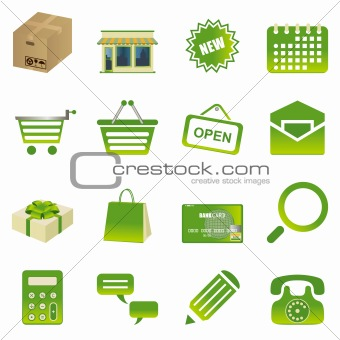 Green shopping icons set