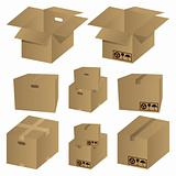 Brown cardboard icons set