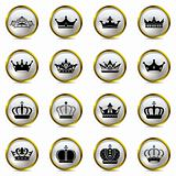 Crown and tiara icons set