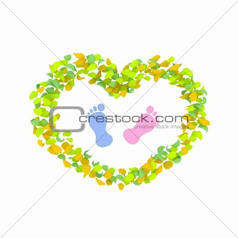 Boy or Girl concept made of spring leaves