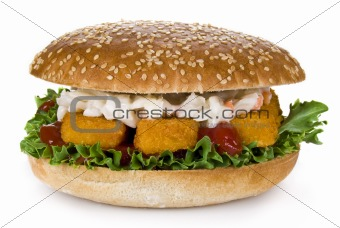 Fish fingers burger