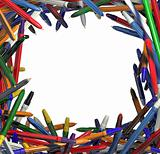 Frame of colorful pens.