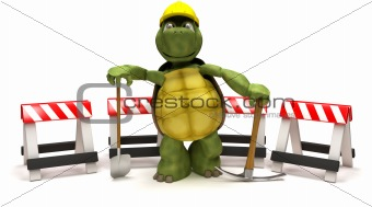 tortoise with a spade and pick axe with hazard barriers