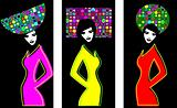 three silhouettes of women