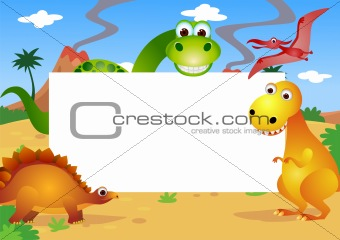 Dinosaurs and blank sign
