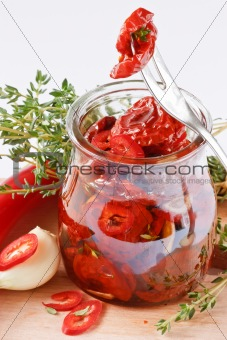 Marinated dried tomatoes.