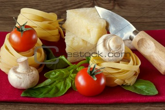 Tagliatelle, tomatoes, parmesan and champignons.