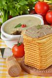 Pate, tomatoes and crackers.