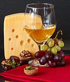 Cheese, grapes, wine.