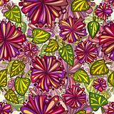 Flowers and leaves seamless pattern.