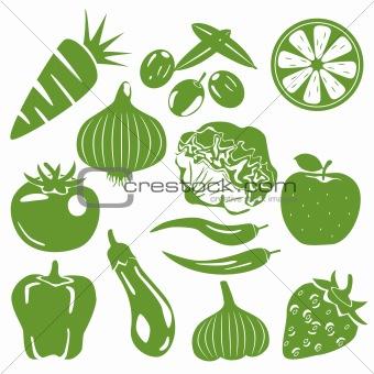 Foodstuff green icons set